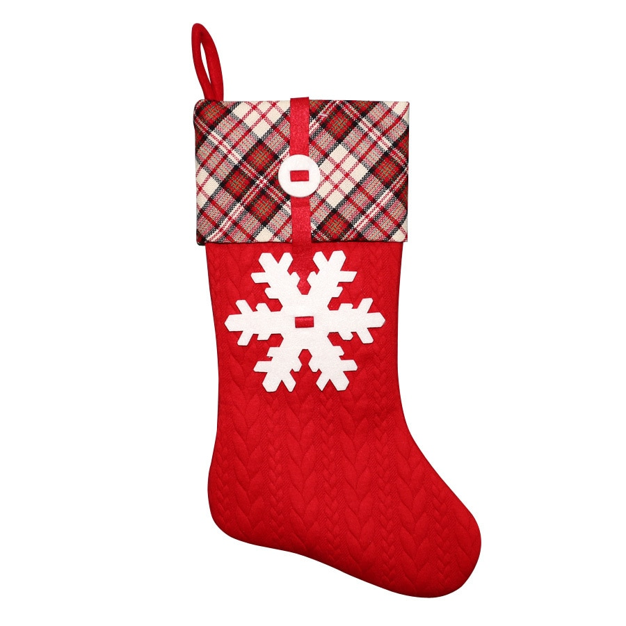 Holiday Living 20-in Red Snowflake Christmas Stocking