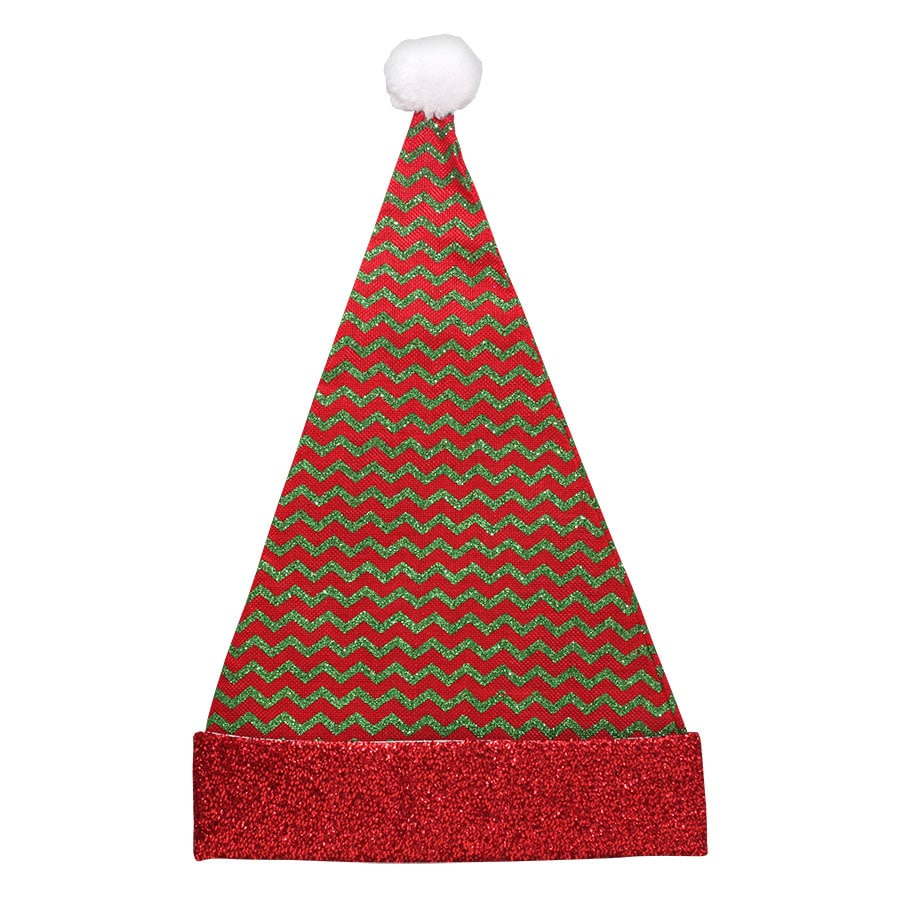 Holiday Living SS HL SANTA HAT-RED AND GREEN CHEVRON