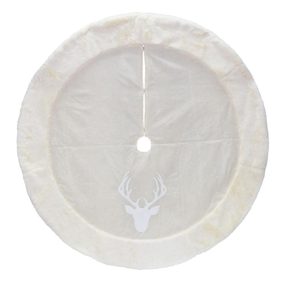 Holiday Living 56-in Off-white Polyester Deer Christmas Tree Skirt