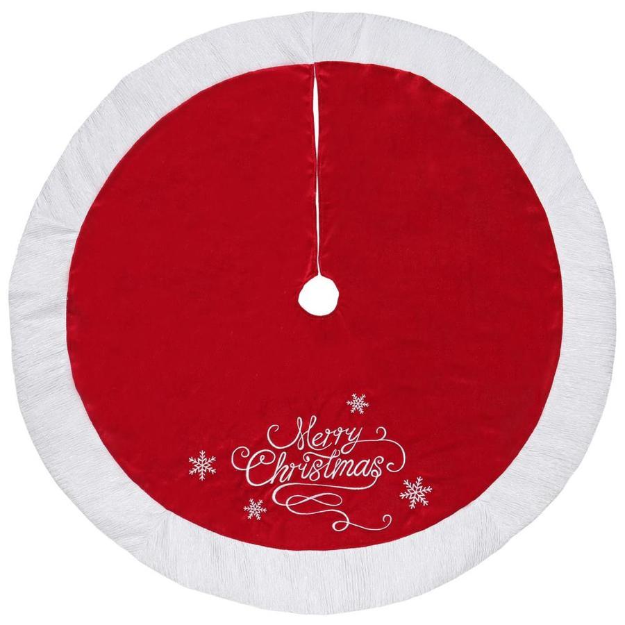 Lowes Christmas Tree Skirts: Holiday Living 48-in Red Velvet Merry Christmas Tree Skirt