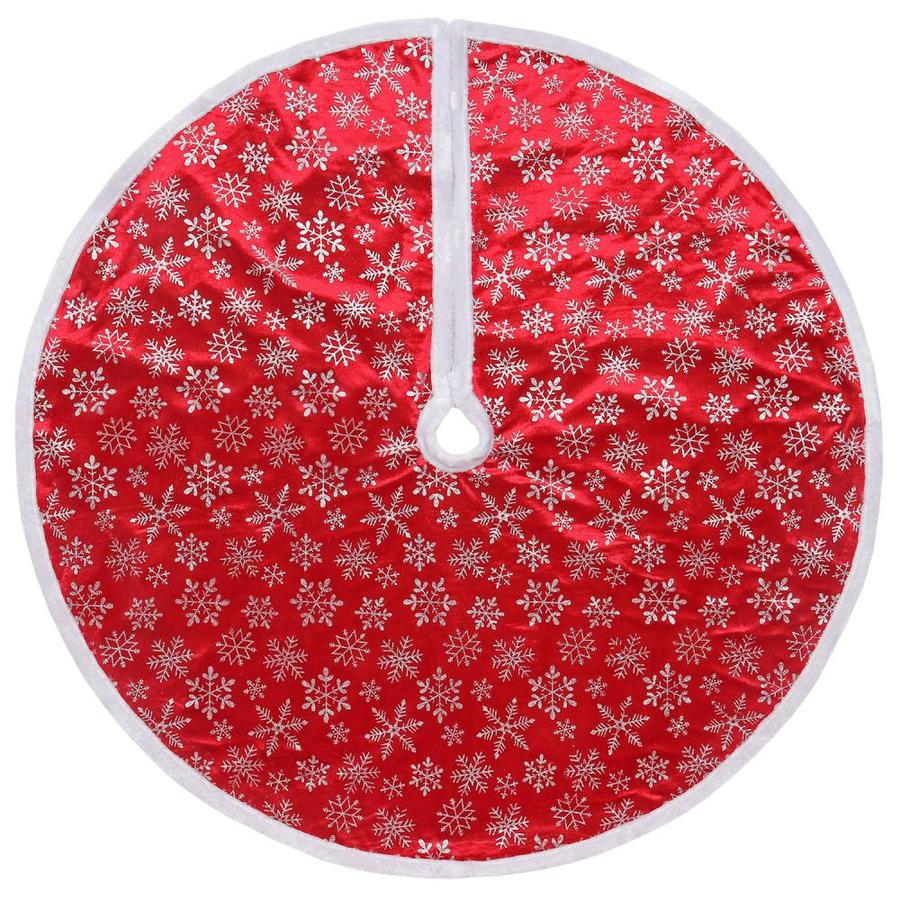 Lowes Christmas Tree Skirts: Holiday Living 48-in Red Polyester Snowflake Christmas