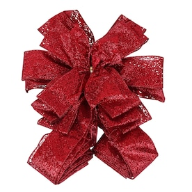 Holiday Living Designer Tree Topper Bow Red Sheer Glitter