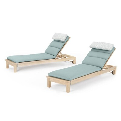 RST Brands Kooper Set of 2 Tan Wood Stationary Chaise Lounge Chair(s) with Spa Blue Sunbrella Cushioned Seat