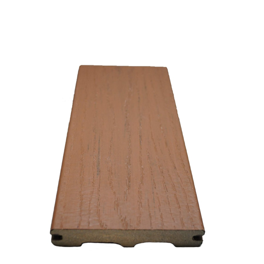 Style Selections (Actual: 0.925-in x 5.25-in x 12-ft) Beechwood Brown Grooved Composite Deck Board