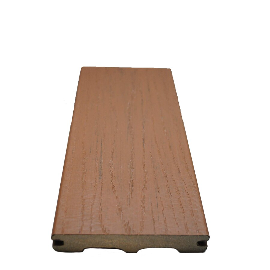 Style Selections Beechwood Brown Groove Composite Deck Board (Actual: 0.925-in x 5.25-in x 16-ft)