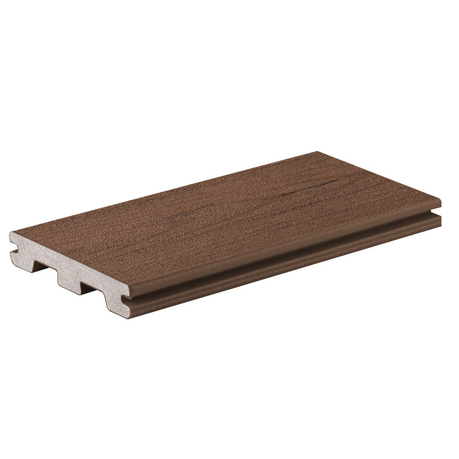 TimberTech (Actual: 0.94-in x 5.36-in x 20-ft) Brown Oak Grooved Composite Deck Board