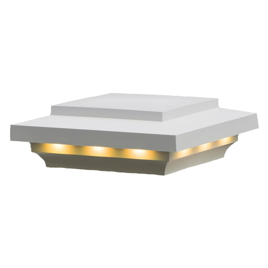 AZEK (Fits Common Post Measurement: 5-1/2-in x 5-1/2-in; Actual: 3.5-in x 8-in x 8-in) White LED Composite Deck Post Cap