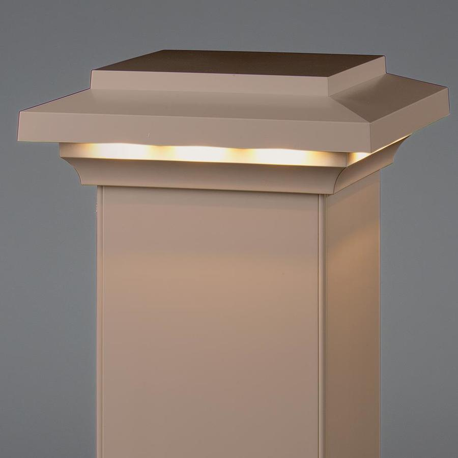 AZEK Brownstone Voltage LED Composite Deck Post Cap (Fits Common Post Measurement: 5-1/2-in x 5-1/2-in; Actual: 3.5-in x 8-in x 8-in)