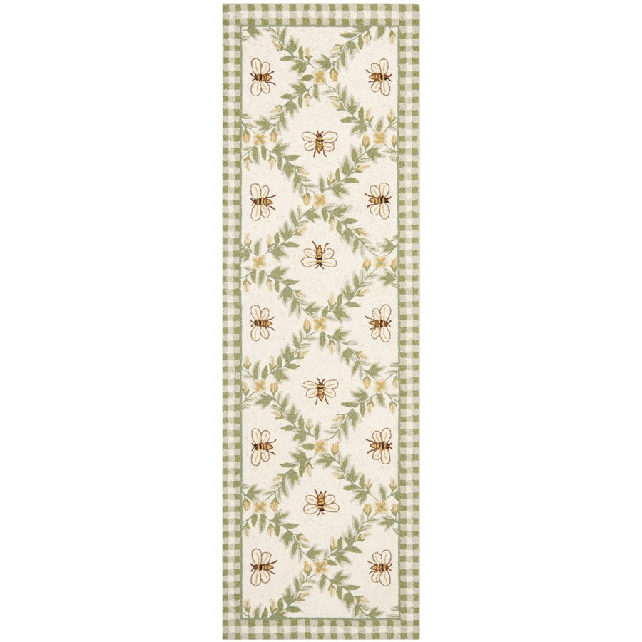 Safavieh Chelsea Stratford Ivory/Green Rectangular Indoor Handcrafted Lodge Runner (Common: 2 X 6; Actual: 2.5-ft W x 6-ft L)
