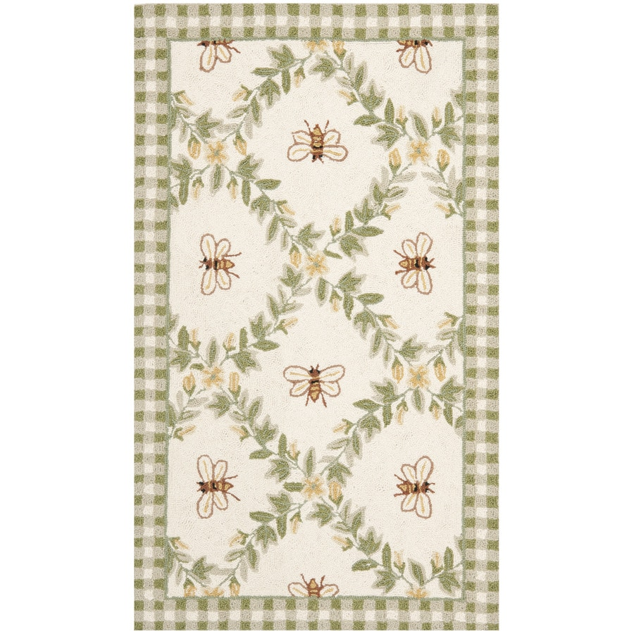 Safavieh Chelsea Stratford Ivory/Green Rectangular Indoor Handcrafted Lodge Throw Rug (Common: 3 X 5; Actual: 2.75-ft W x 4.75-ft L)