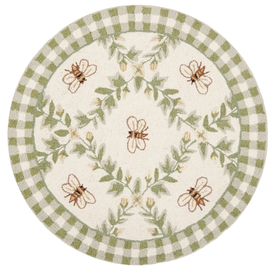 Safavieh Chelsea Stratford Ivory and Green Round Indoor Handcrafted Lodge Throw Rug (Common: 3 x 3; Actual: 3-ft W x 3-ft L x 3-ft Dia)