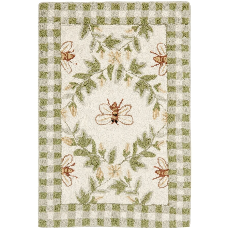 Safavieh Chelsea Stratford Ivory/Green Indoor Handcrafted Lodge Area Rug (Common: 4 x 6; Actual: 3.75-ft W x 5.75-ft L)