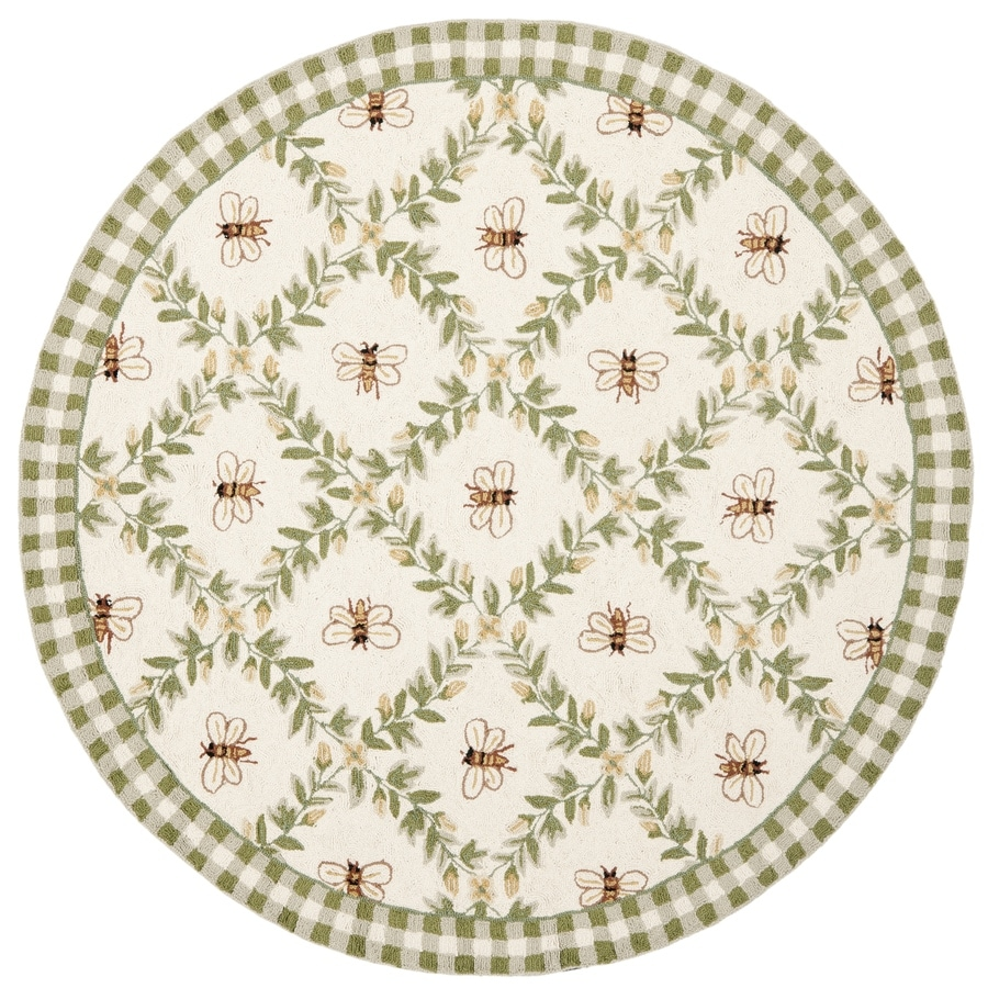 Safavieh Chelsea Stratford Ivory/Green Round Indoor Handcrafted Lodge Area Rug (Common: 8 x 8; Actual: 8-ft W x 8-ft L x 8-ft dia)