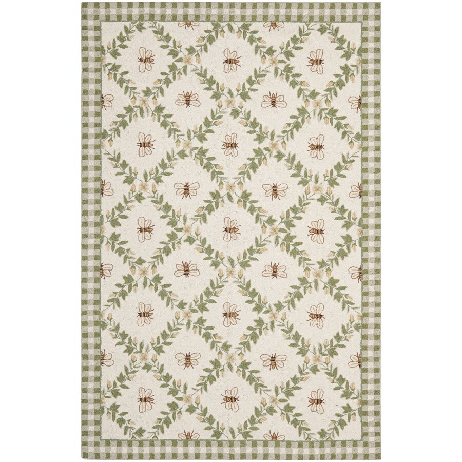 Safavieh Chelsea Stratford Ivory/Green Rectangular Indoor Handcrafted Lodge Area Rug (Common: 8 X 11; Actual: 8.75-ft W x 11.75-ft L)