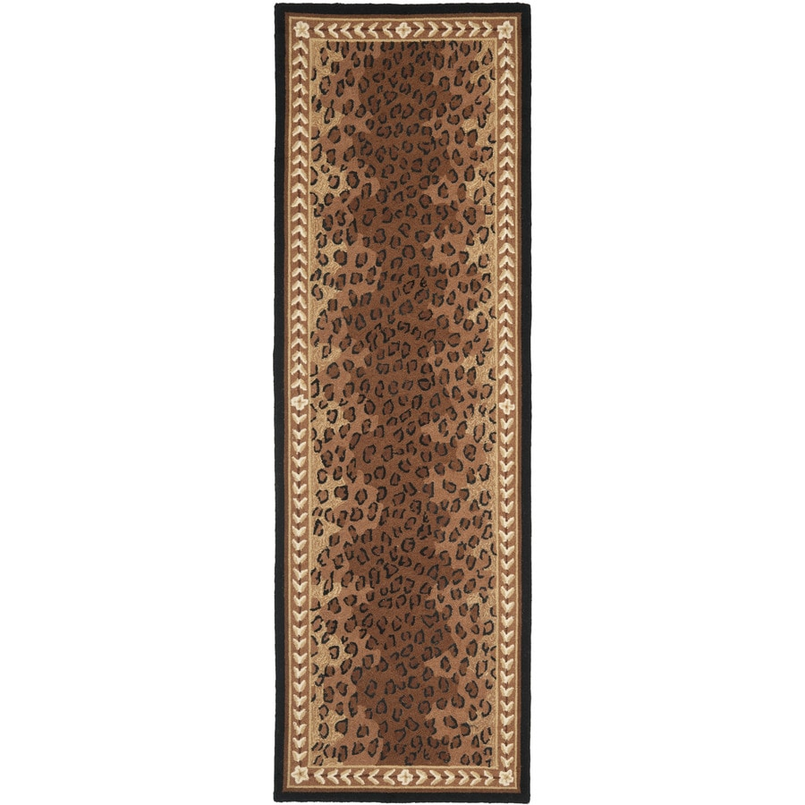 Safavieh Chelsea Leopard Black/Brown Rectangular Indoor Handcrafted Lodge Runner (Common: 2 x 8; Actual: 2.5-ft W x 8-ft L)