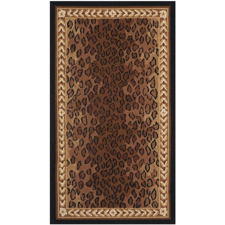 Safavieh Chelsea Leopard Black/Brown Rectangular Indoor Handcrafted Lodge Throw Rug (Common: 3 x 5; Actual: 2.75-ft W x 4.75-ft L)