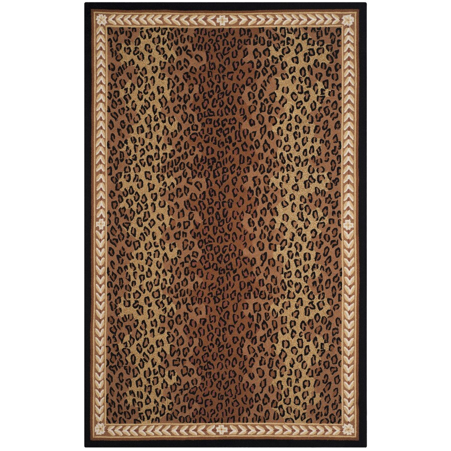 Safavieh Chelsea Leopard Black/Brown Rectangular Indoor Handcrafted Lodge Area Rug (Common: 5 x 8; Actual: 5.25-ft W x 8.25-ft L)