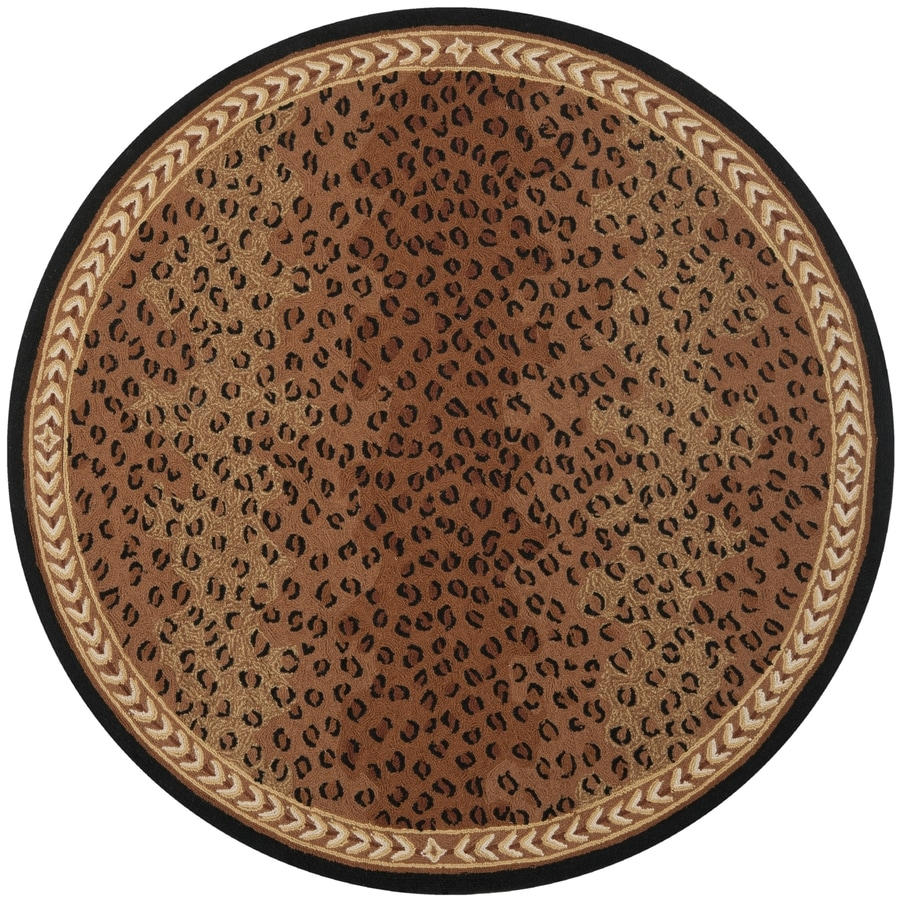 Safavieh Chelsea Leopard Black/Brown Round Indoor Handcrafted Lodge Area Rug (Common: 5 x 5; Actual: 5.5-ft W x 5.5-ft L x 5.5-ft Dia)