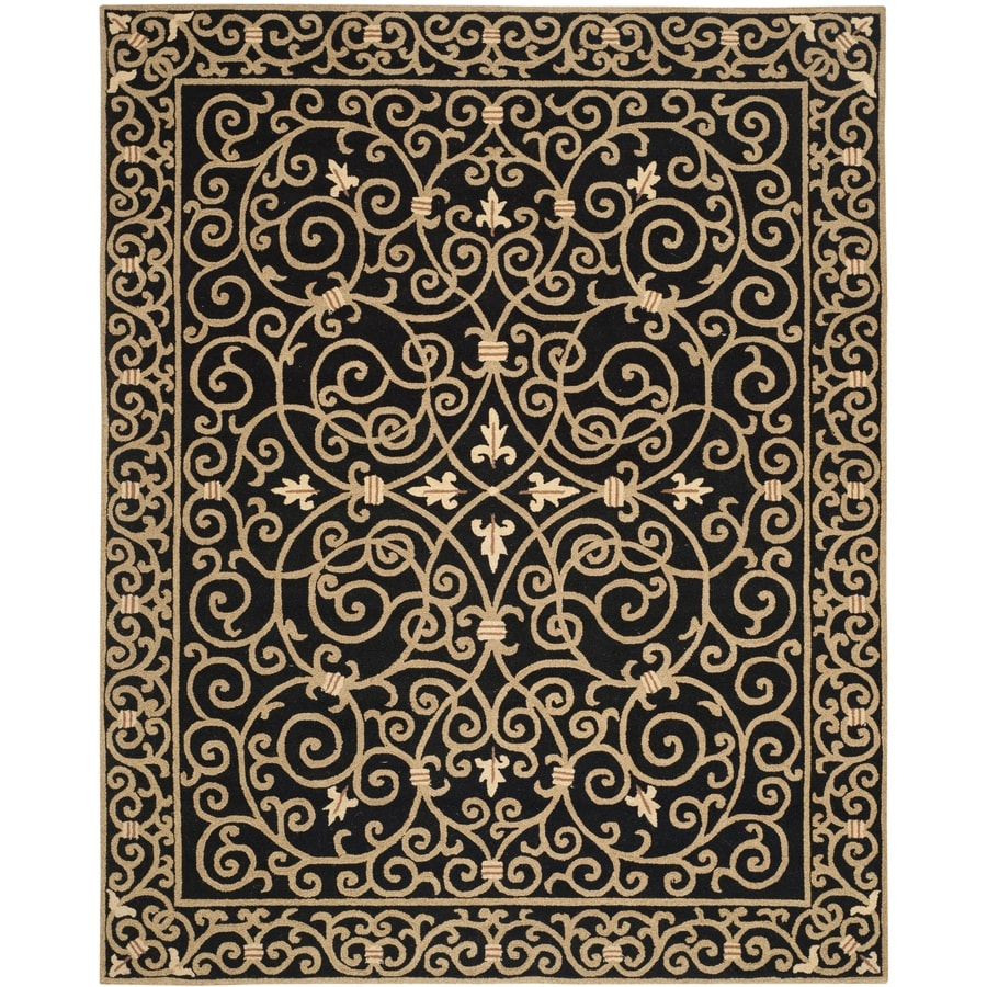 Safavieh Chelsea Black Rectangular Indoor Hand-Hooked Lodge Area Rug (Common: 7 x 9; Actual: 7.75-ft W x 9.75-ft L)