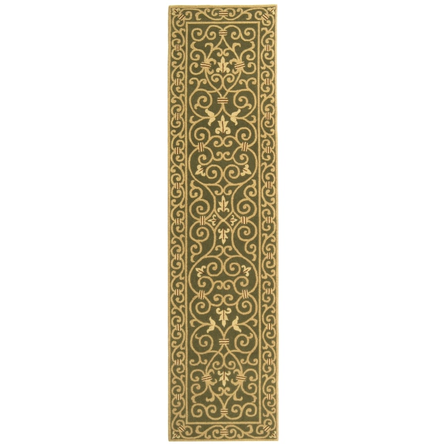 Safavieh Chelsea Iron Gate Light Green Rectangular Indoor Handcrafted Lodge Runner (Common: 2 x 10; Actual: 2.5-ft W x 10-ft L)