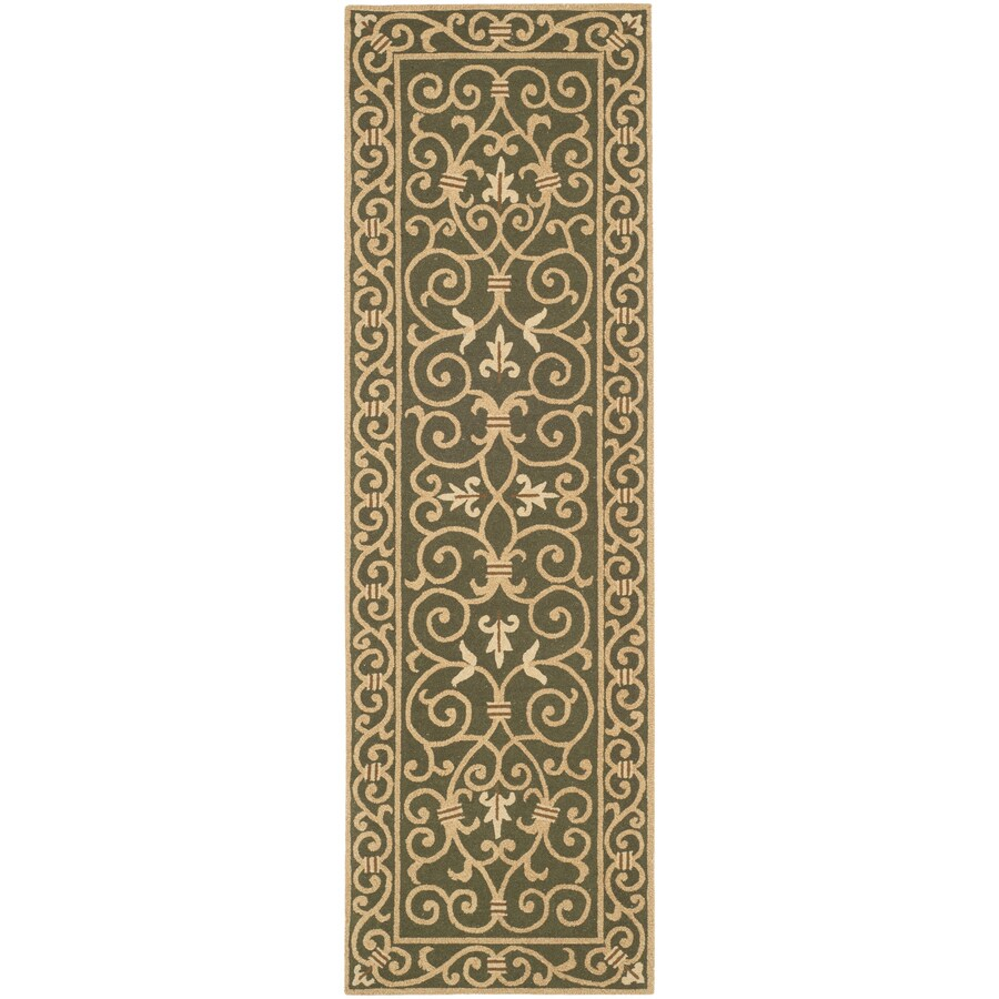 Safavieh Chelsea Iron Gate Light Green Rectangular Indoor Handcrafted Lodge Runner (Common: 2 x 12; Actual: 2.5-ft W x 12-ft L)