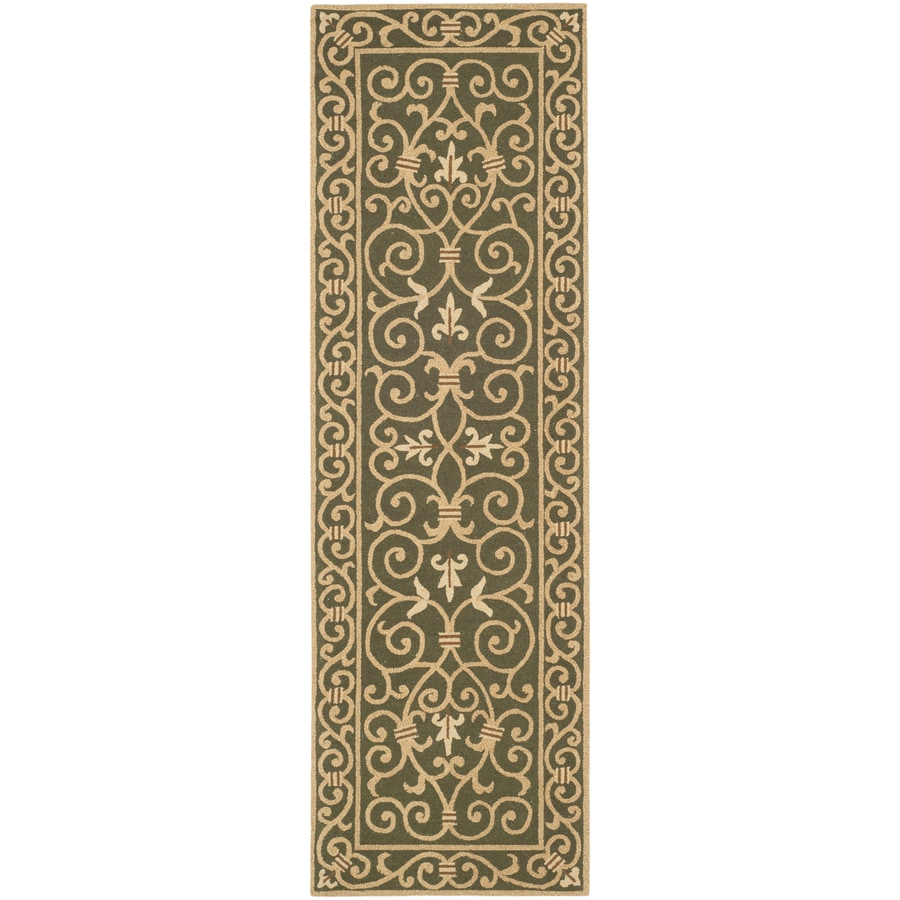 Safavieh Chelsea Iron Gate Light Green Rectangular Indoor Handcrafted Lodge Runner (Common: 2 x 6; Actual: 2.5-ft W x 6-ft L)