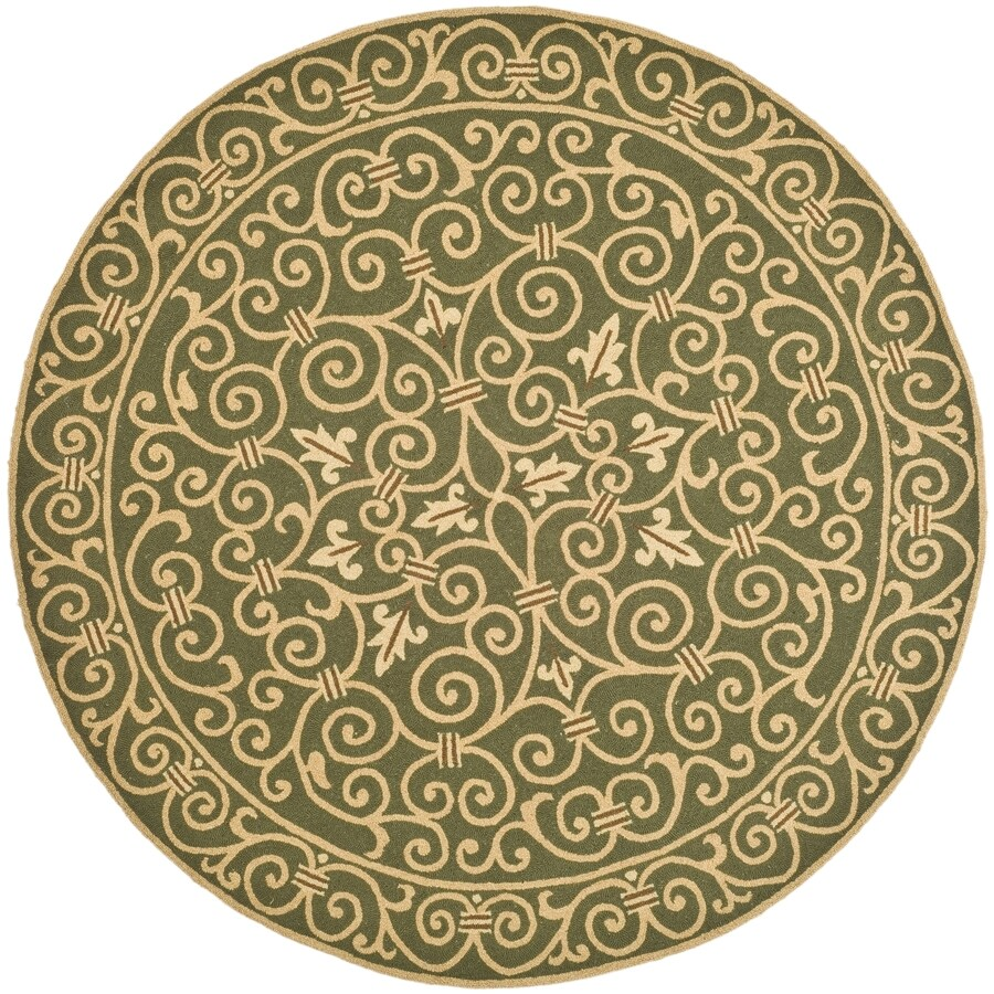 Safavieh Chelsea Light Green Round Indoor Handcrafted Lodge Area Rug (Common: 5 x 5; Actual: 5.5-ft W x 5.5-ft L x 5.5-ft dia)