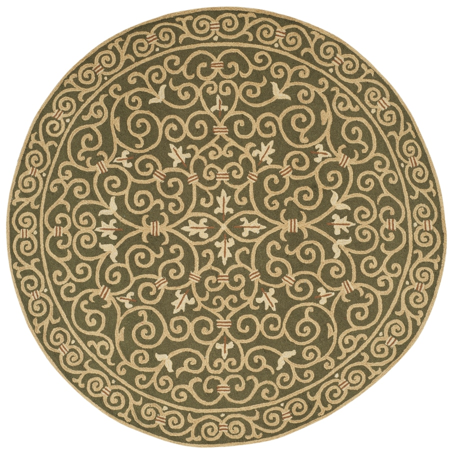 Safavieh Chelsea Iron Gate Light Green Round Indoor Handcrafted Lodge Area Rug (Common: 8 x 8; Actual: 8-ft W x 8-ft L x 8-ft dia)