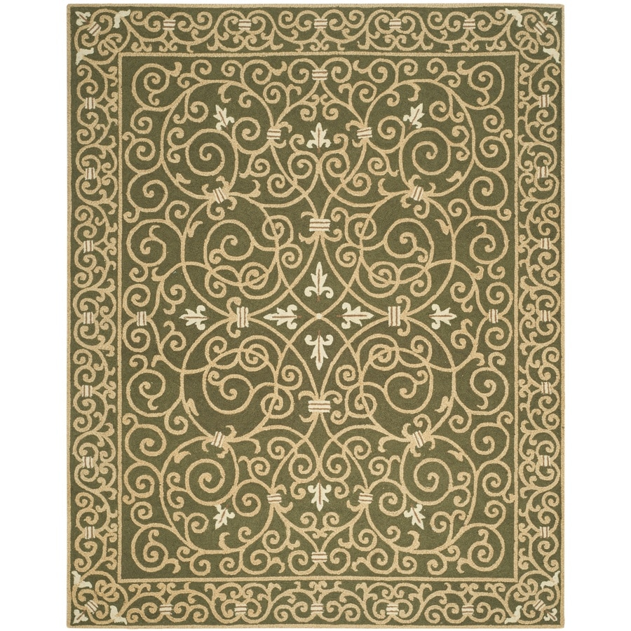 Safavieh Chelsea Iron Gate Light Green Rectangular Indoor Handcrafted Lodge Area Rug (Common: 8 X 11; Actual: 8.75-ft W x 11.75-ft L)