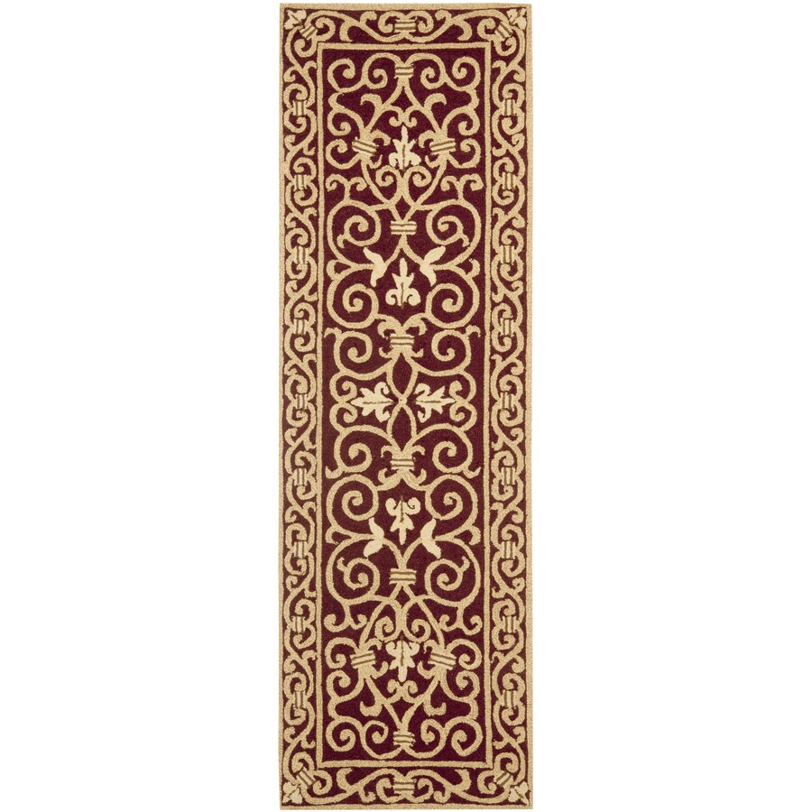 Safavieh Chelsea Iron Gate Burgundy Indoor Handcrafted Lodge Runner (Common: 2 x 10; Actual: 2.5-ft W x 10-ft L)