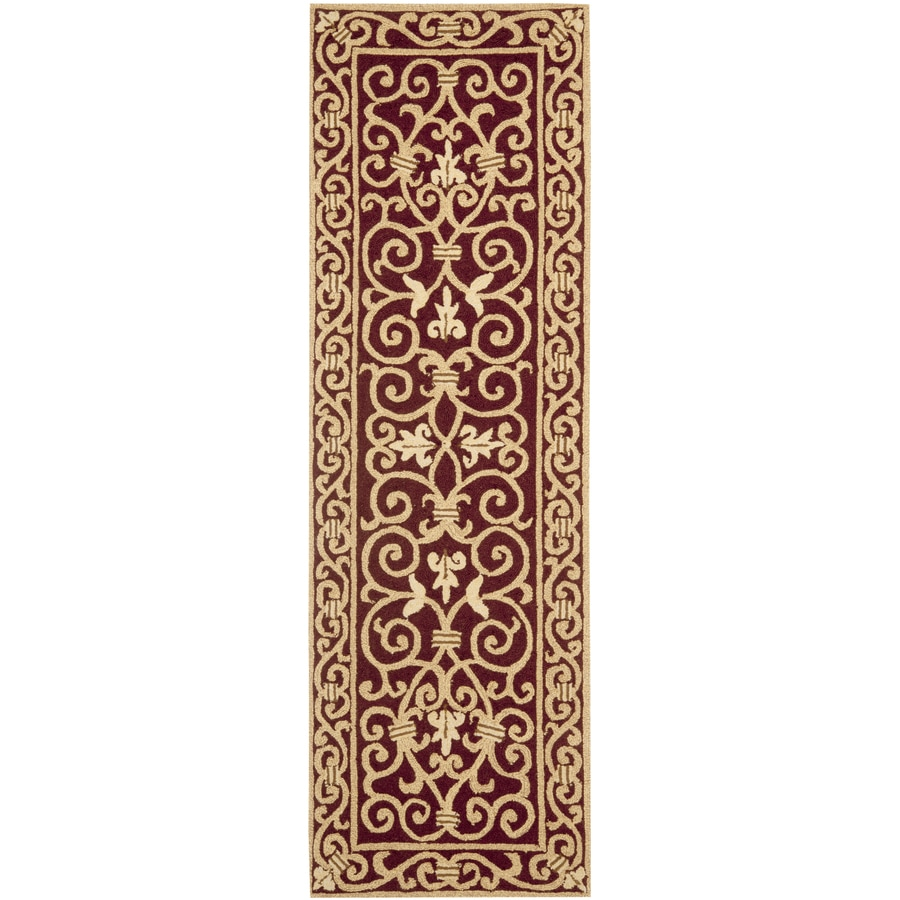 Safavieh Chelsea Iron Gate Burgundy Indoor Handcrafted Lodge Runner (Common: 2 x 6; Actual: 2.5-ft W x 6-ft L)