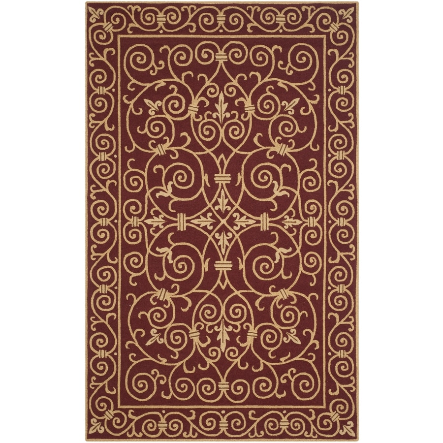 Safavieh Chelsea Iron Gate Burgundy Rectangular Indoor Handcrafted Lodge Area Rug (Common: 5 x 8; Actual: 5.25-ft W x 8.25-ft L)