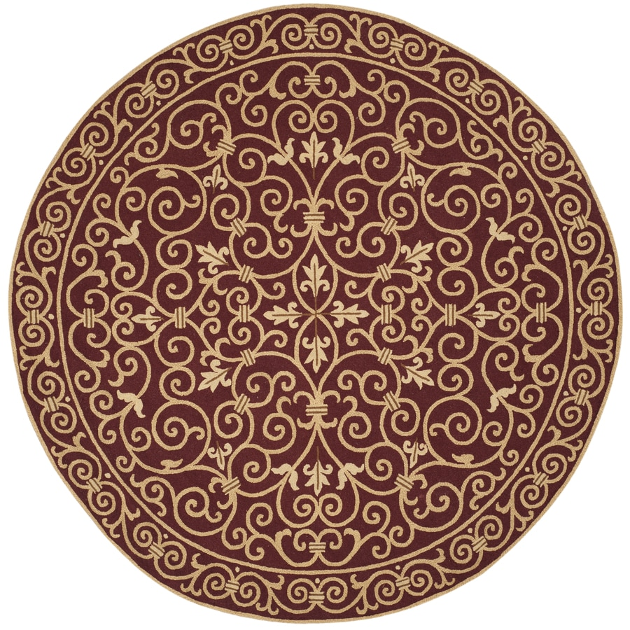 Safavieh Chelsea Burgundy Round Indoor Hand-Hooked Area Rug (Common: 5 x 5; Actual: 5.5-ft W x 5.5-ft L x 5.5-ft dia)