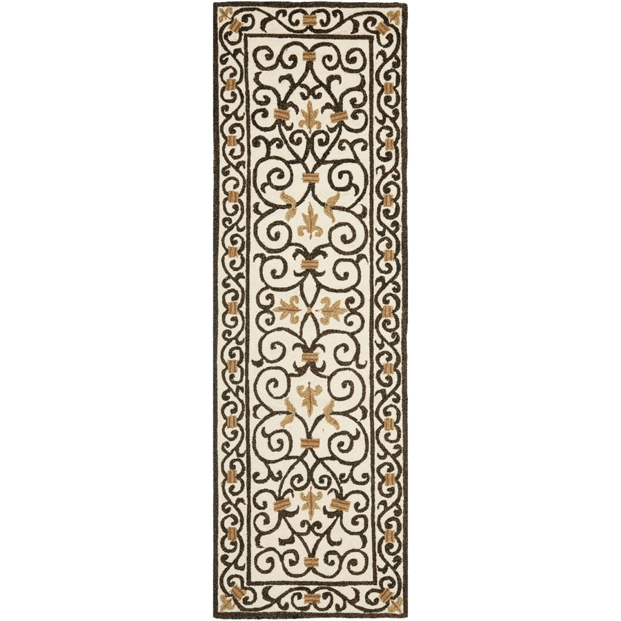Safavieh Chelsea Iron Gate Ivory/Dark Brown Rectangular Indoor Handcrafted Lodge Runner (Common: 2 X 12; Actual: 2.5-ft W x 12-ft L)