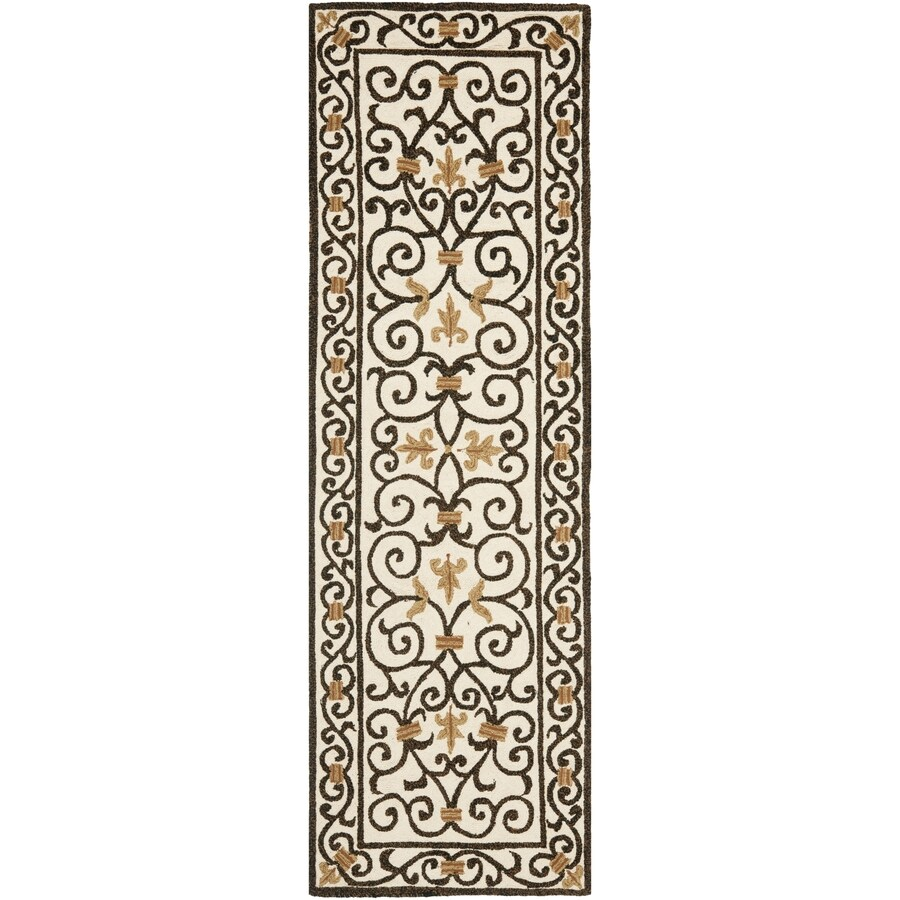 Safavieh Chelsea Iron Gate Ivory/Dark Brown Rectangular Indoor Handcrafted Lodge Runner (Common: 2 X 6; Actual: 2.5-ft W x 6-ft L)