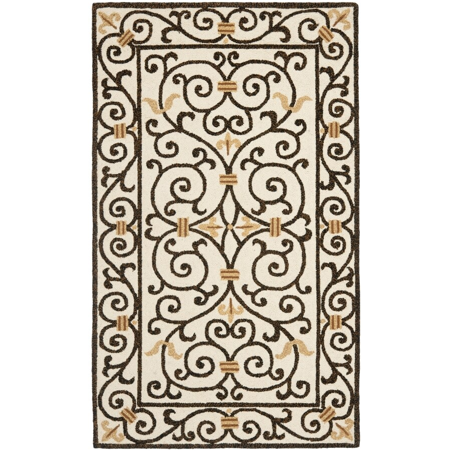 Safavieh Chelsea Iron Gate Ivory/Dark Brown Rectangular Indoor Handcrafted Lodge Throw Rug (Common: 3 X 5; Actual: 2.75-ft W x 4.75-ft L)