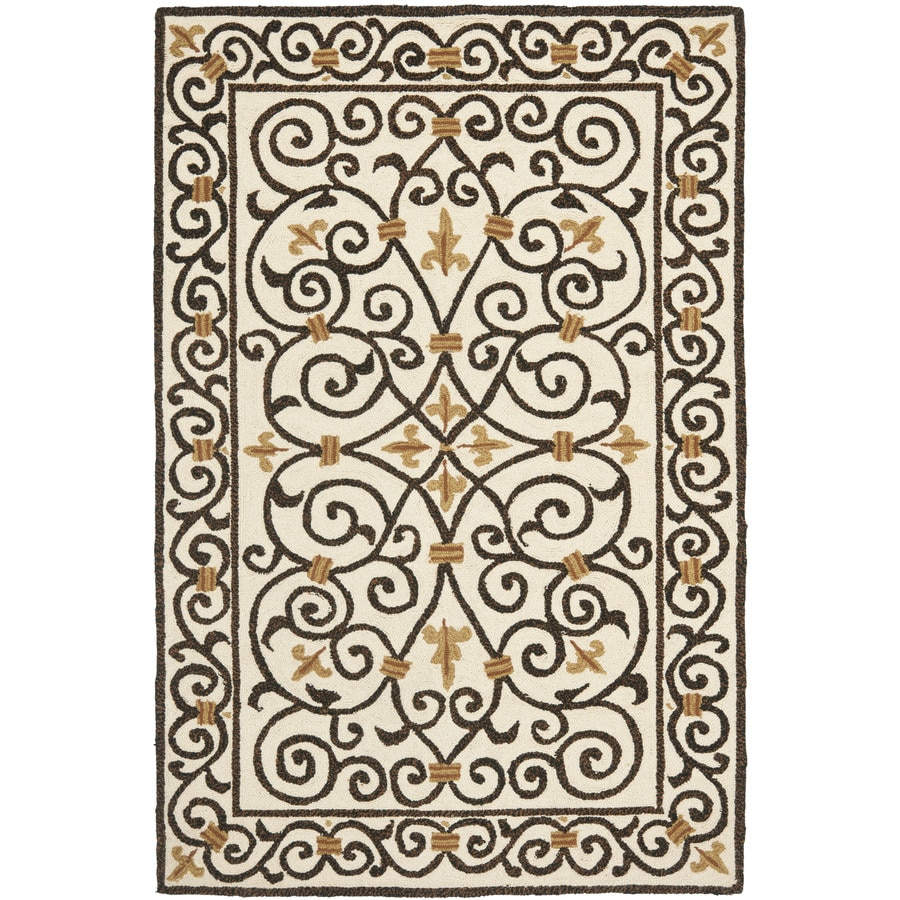 Safavieh Chelsea Iron Gate Ivory And Dark Brown Indoor Handcrafted Lodge Area Rug (Common: 4 x 6; Actual: 3.75-ft W x 5.75-ft L)