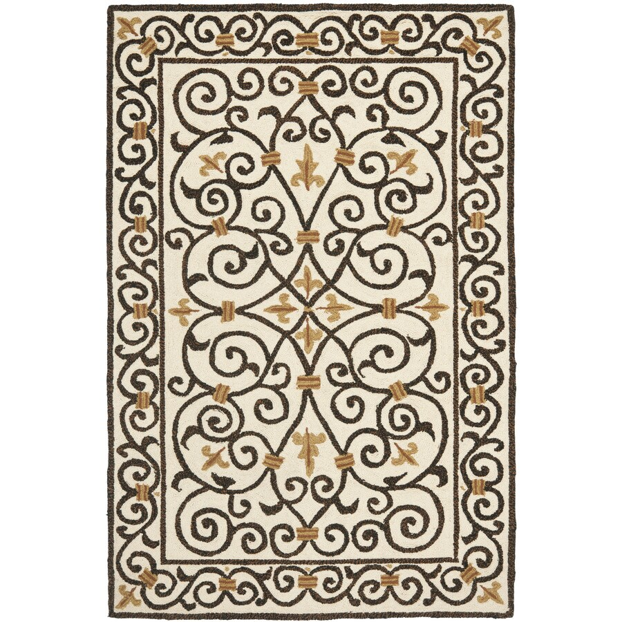Safavieh Chelsea Iron Gate Ivory and Dark Brown Rectangular Indoor Handcrafted Lodge Throw Rug (Common: 3 x 5; Actual: 3.75-ft W x 5.75-ft L)