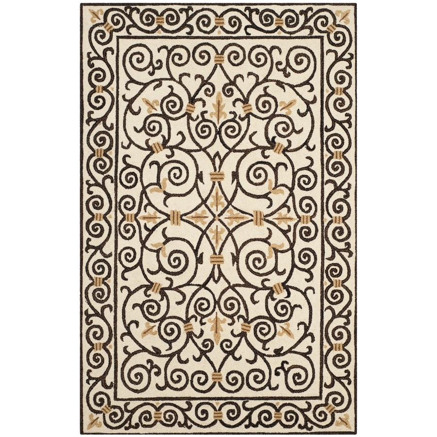 Safavieh Chelsea Iron Gate Ivory/Dark Brown Indoor Handcrafted Lodge Area Rug (Common: 5 x 8; Actual: 5.25-ft W x 8.25-ft L)