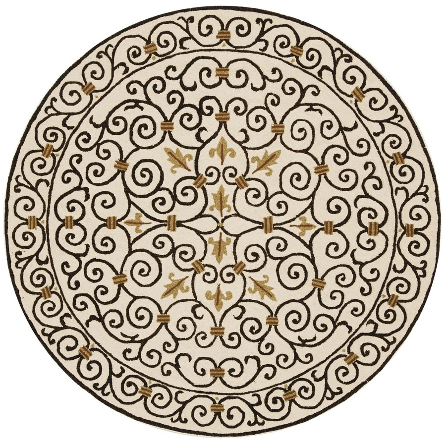 Safavieh Chelsea Iron Gate Ivory and Dark Brown Round Indoor Handcrafted Lodge Area Rug (Common: 5 x 5; Actual: 5.5-ft W x 5.5-ft L x 5.5-ft Dia)