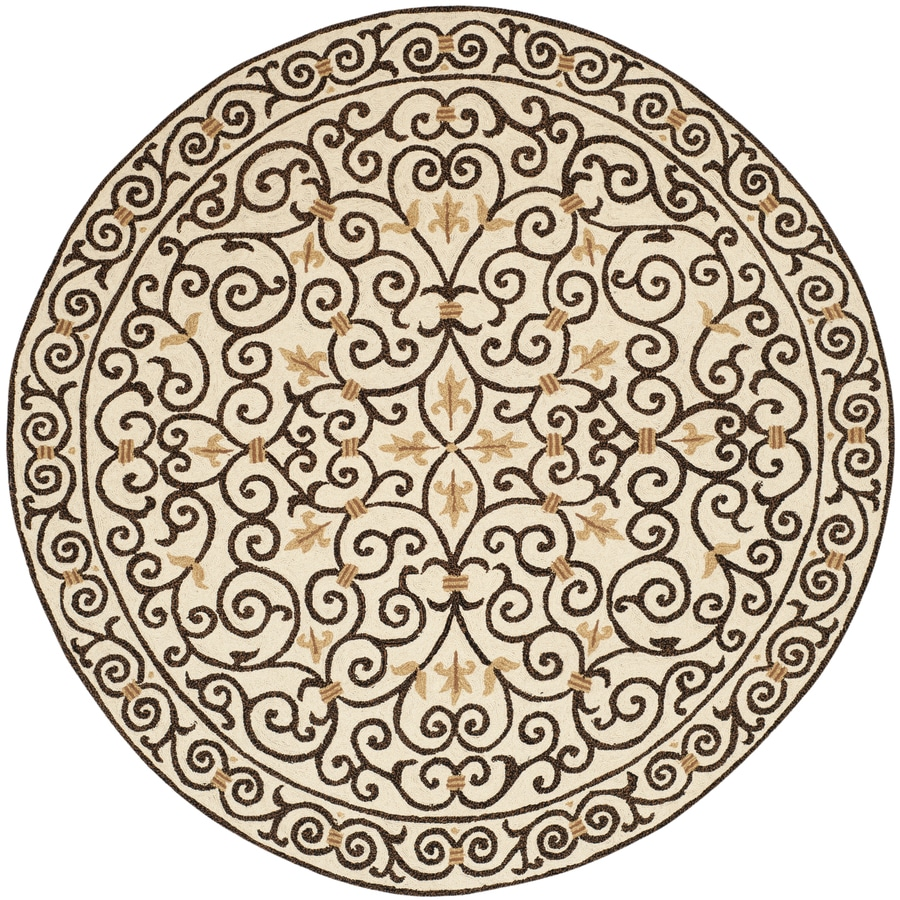 Safavieh Chelsea Iron Gate Ivory/Dark Brown Round Indoor Handcrafted Lodge Area Rug (Common: 8 X 8; Actual: 8-ft W x 8-ft L x 8-ft dia)