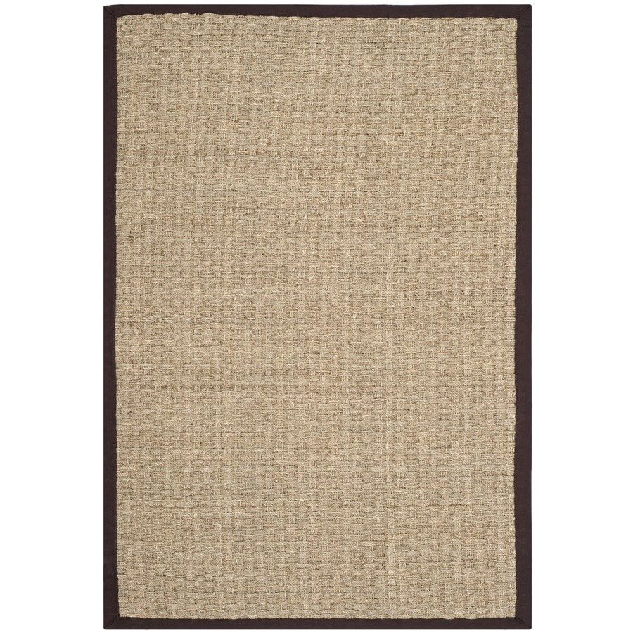 Safavieh Natural Fiber Hampton Natural/Dark Brown Rectangular Indoor Machine-Made Coastal Area Rug (Common: 4 x 6; Actual: 4-ft W x 6-ft L)