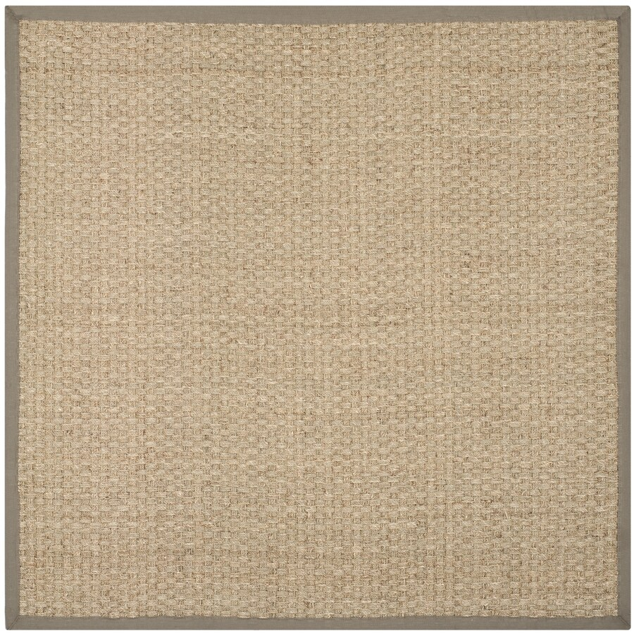 Safavieh Natural Fiber Hampton Natural/Gray Square Indoor Machine-Made Coastal Area Rug (Common: 6 x 6; Actual: 6-ft W x 6-ft L)