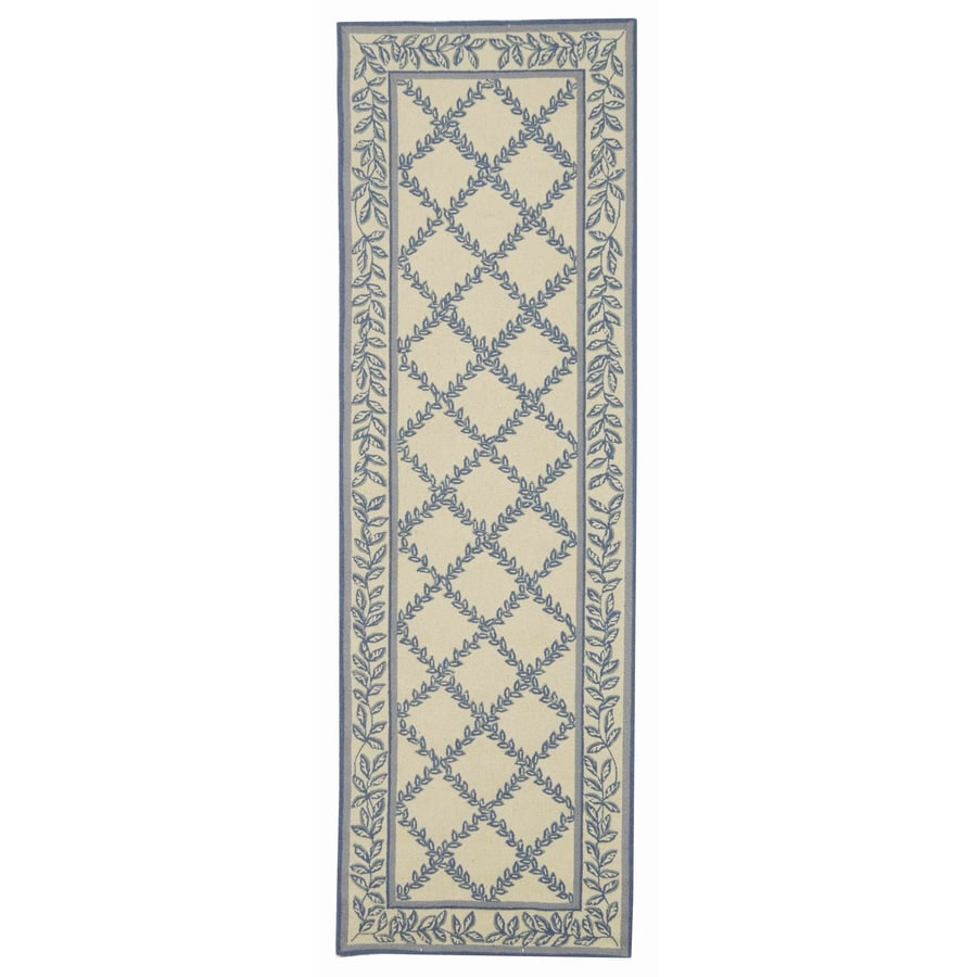 Safavieh Chelsea Lattice Ivory and Light Blue Rectangular Indoor Handcrafted Lodge Runner (Common: 2 x 6; Actual: 2.5-ft W x 6-ft L)