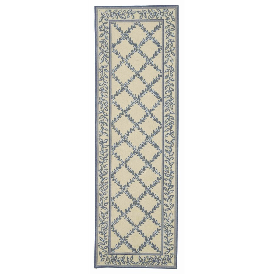 Safavieh Chelsea Lattice Ivory/Light Blue Rectangular Indoor Handcrafted Lodge Runner (Common: 2 X 12; Actual: 2.5-ft W x 12-ft L)