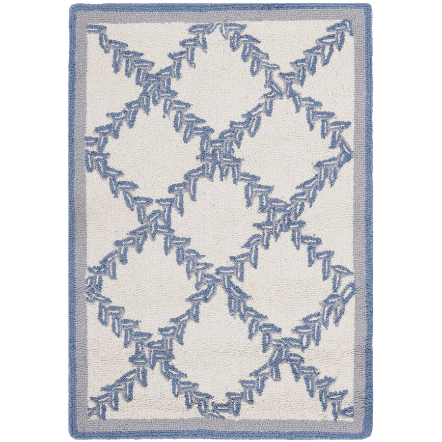 Safavieh Chelsea Lattice Ivory And Light Blue Indoor Handcrafted Lodge Area Rug (Common: 4 x 6; Actual: 3.75-ft W x 5.75-ft L)