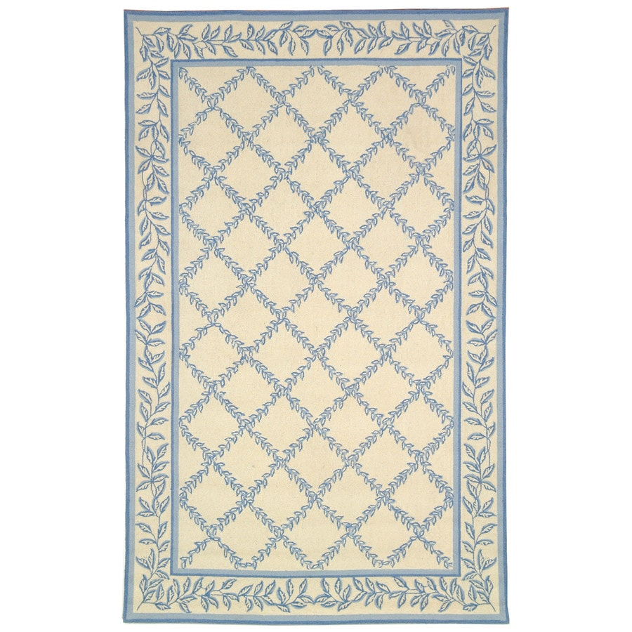 Safavieh Chelsea Lattice Ivory and Light Blue Rectangular Indoor Handcrafted Lodge Area Rug (Common: 5 x 8; Actual: 5.25-ft W x 8.25-ft L)