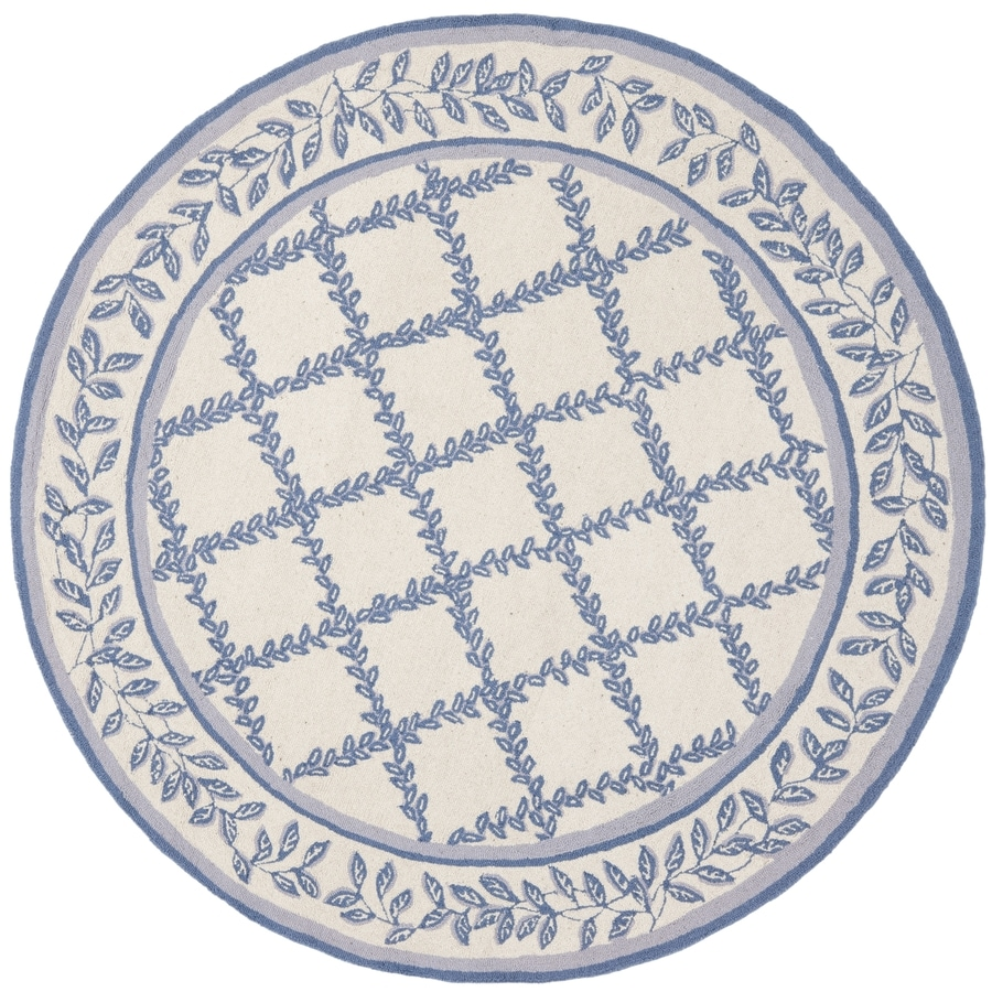 Safavieh Chelsea Lattice Ivory/Light Blue Round Indoor Handcrafted Lodge Area Rug (Common: 8 X 8; Actual: 8-ft W x 8-ft L x 8-ft dia)