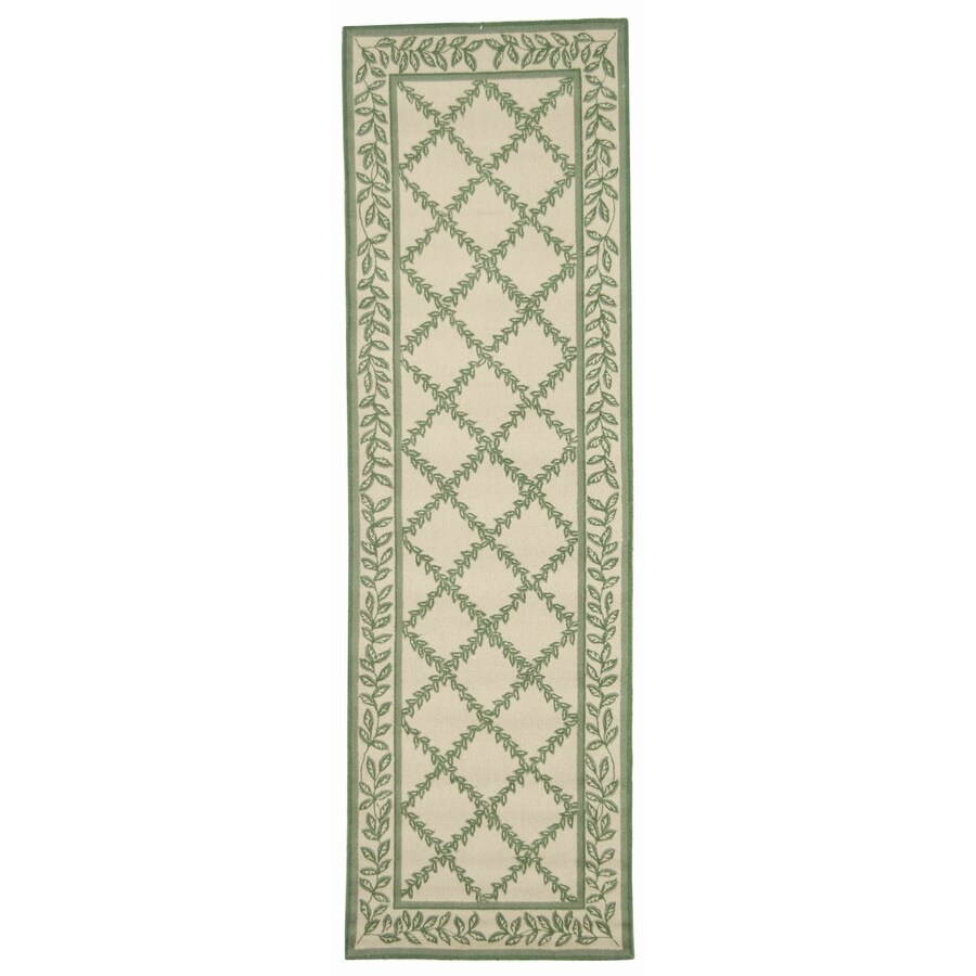 Safavieh Chelsea Lattice Ivory/Light Green Indoor Handcrafted Lodge Runner (Common: 2 x 8; Actual: 2.5-ft W x 8-ft L)