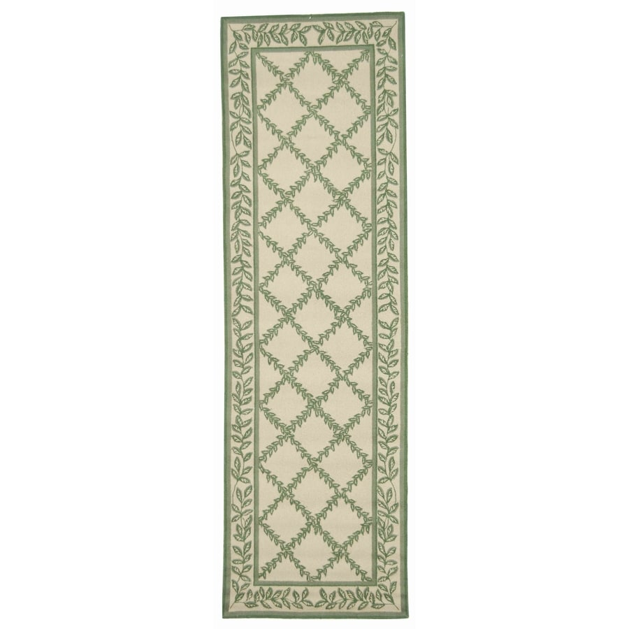 Safavieh Chelsea Lattice Ivory/Light Green Rectangular Indoor Handcrafted Lodge Runner (Common: 2 X 12; Actual: 2.5-ft W x 12-ft L)